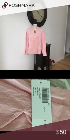 Ladies CHICOS Jacket Gorgeous pink ladies CHICOS Jacket.  Simple ease Merrina.  BRAND NEW AND NEVER WORN. (502-0000) Chico's Jackets & Coats