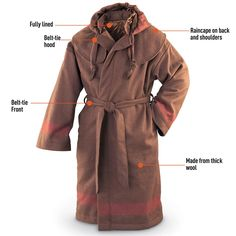 Original Mountain Man Hooded Wool Capote - Tactical Clothing at Sportsman's Guide Mountain Man Clothing, Mountain Gear, Los Primates, Capote Coat, Survival Clothing, Man Gear, Fur Trade, Blanket Coat, Tactical Clothing