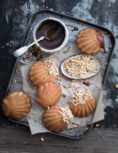 hazelnut browned butter madeleines with whiskey caramel