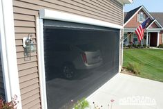 Retractable garage screen for single, double, and golf cart garages. These screens can be manual or motorized and are completely sealed off from bugs