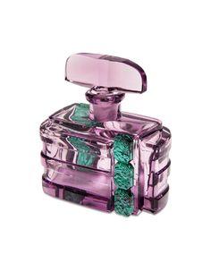 1930s Czech amethyst crystal perfume bottle