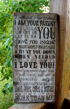Tough Love Subway sign for parents and teens
