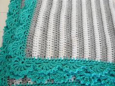 Handmade crochet gray and white striped baby blanket afghan with turquoise aqua blue shell border by AuntieJenniesAttic on Etsy
