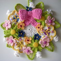 "Crochet 14"" Floral wreath. My own design, by Jerre Lollman Love this!"