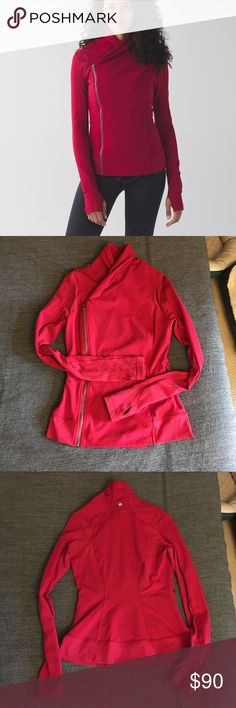 Lululemon Bhakti Jacket in Cranberry VGUC, some wear on thumb holes/seams but hardly noticeable, see pics! Happy to sell for less via 🅿️🅿️. lululemon athletica Jackets & Coats