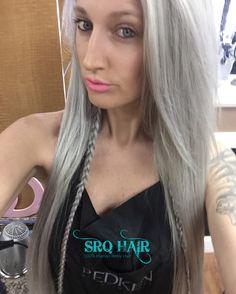 Silver hair  Redken Shades EQ formula: 09P 20min under heat after shampooing apply 09T 5 min.