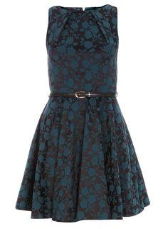 **Closet Teal Jacquard Floral Dress