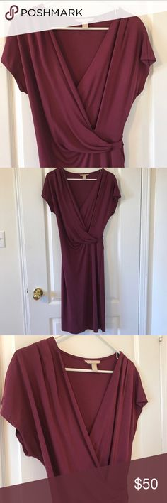Banana Republic faux wrap dress + free gift! Gorgeous faux wrap dress in a deep plum color (beetroot).  A thick high quality 100% rayon dress.  Feminine and flattering cut - has the appearance of a wrap dress on top, but no wraparound skirt so you don't have to worry about annoying accidents with skin peeking through.  Worn just a few times and in excellent condition.  Free gift with purchase: March 2018 Shape magazine Banana Republic Dresses