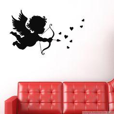 Sticker Cupidon avec une flèche et cœur - Stickers Professionnels Stickers Vitrine Magasin - ambiance-sticker