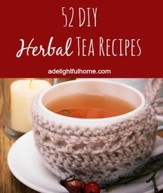Herbal Gardening Ideas 52 DIY Herbal Tea Recipes @ A Delightful Home - Creating your own tea blends is easy and much less expensive than buying some of the pre-made bags at the store. Find DIY tea recipes by clicking this link. Cafeteria Menu, Smoothies, Homemade Tea, Tea Blends, Herbal Medicine, High Tea, Herbal Remedies, Health Remedies, Drinking Tea