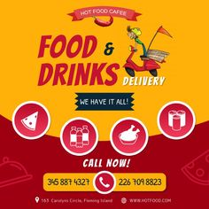 Restaurant Advertising, Advertising Flyers, Restaurant Poster, Fast Food Delivery Service, Drink Delivery, Food Graphic Design, Food Poster Design, Flyer Design Templates, Flyer Template