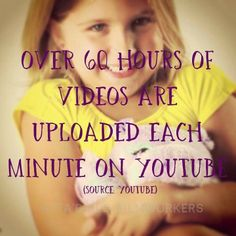 Over 60 hours of videos are uploaded each minute on Youtube.