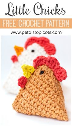 Work up this crochet chicken pattern to add some easy farm friends to your decor. I love how adorable my little crochet chick looks propped on my kitchen windowsill! #petalstopicots