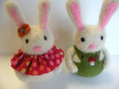 Needle Felt Easter  Bunny Couple  Waldorf Spring by moonforest - I like how far apart their eyes are, makes them look young.