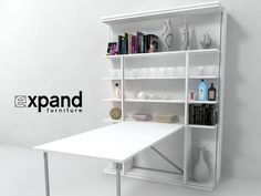Revolving BookCase Italian Wall Bed from Expand Furniture. Expensive, but beautifully designed. Click through for a video on how it works. Revolving Bookcase, Bookcase Wall, Bookshelves, Bedroom Bookcase, Twin Wall Bed, Bed Wall, Murphy Bed Ikea, Murphy Bed Plans, Expand Furniture