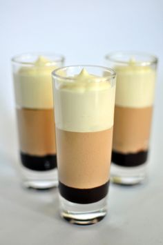 Triple Chocolate Mousse Sweeten your holiday dinners with this yummy dessert and Indulge in 3 layers of velvety goodness. Mousse Dessert, Dessert Cups, Mousse Cake, Dessert Table, Chocolate Mousse Cups, Chocolate Mouse, Chocolate Ganache, Chocolate Desserts, Healthy Chocolate