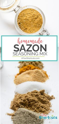 How to Make Homemade Sazon Seasoning Mix - A Few Shortcuts Making yellow rice, or just a delicious dish that calls for Sazon Seasoning? Try this Homemade Sazon Seasoning Mix Recipe that has NO MSG. Homemade Spice Blends, Homemade Spices, Homemade Seasonings, Spice Mixes, Homemade Food, Yellow Rice Recipes, Rice Recipes For Dinner, Breakfast Recipes, Dessert Recipes
