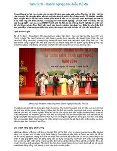 Tâm Bình - Doanh nghiệp tiêu biểu thủ đô  by Dược Phẩm Tâm Bình via slideshare