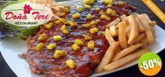 Restaurante Doña Tere en Nuevo Vallarta - $112 en lugar de $225 por 1 Orden de Jugosas Costillas BBQ con Ensalada Americana y Papas Fritas Click http://cupocity.com