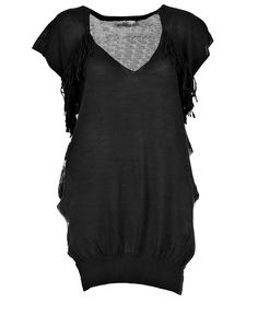 Mutiny top (Black)- Elegant knit top with fringe detail and holes at side seam.