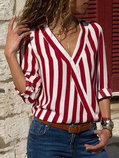 6601349e29d Shop Blouses   Shirts - Long Sleeve Striped V Neck Blouses   Shirts online.  Discover