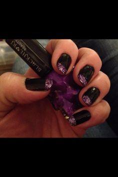 Black with purple glitter tips