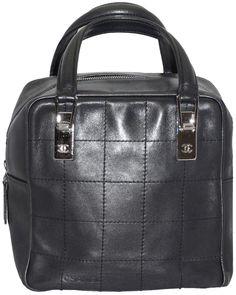 Chanel Designer Handbags Black Leather Bag Small Chocolate Bar Wristlet  Silver CC Purse