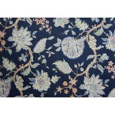 P Kaufmann Fabrics Gem of the Sky Indigo Blue Jacobean Floral | Fabric