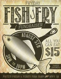 Fish Fry Event Fundraiser Poster, Flyer or Ad