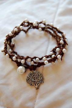 Crocheted Wrap Bracelet/Lariat Style Necklace in by PrairieDustInc, $22.00