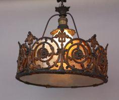 1920s Spanish Revival Mediterranean Home Filigree Pendant Chandelier Lamp Light | eBay california-revival