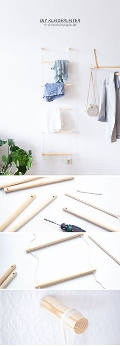 Ordnung schaffen mit Stil: DIY Kleiderleiter bauen Creating order in the clothes chaos: With a DIY ladder for the wall made of wood and rope, you can sort your worn clothes clearly - a DIY furniture p Diy Clothes Ladder, Diy Ladder, Upcycled Home Decor, Diy Home Decor, Room Decor For Teen Girls, Diy Tumblr, Diy Inspiration, Diy Upcycling, Diy Kitchen Storage