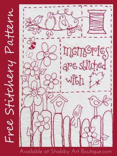 Memories are stitched with love – free stitchery design