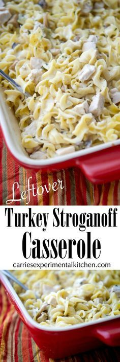 Utilize leftover turkey from your holiday celebrations and turn it into this Turkey Stroganoff Casserole in a creamy sauce mixed with egg noodles. #turkey #thanksgiving #casserole via @CarriesExpKtchn