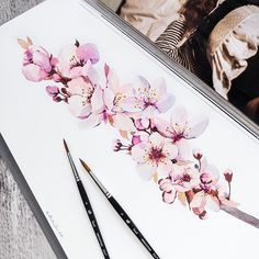 Let your dreams blossom 🍃🌸 Watercolor Flowers, Watercolor Paintings, Watercolour, Hugging Drawing, Secret Garden Colouring, Black Bird Tattoo, Air Brush Painting, Painting Art, Art Courses