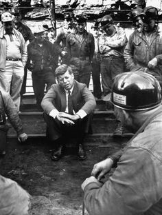 50 Years Into the War on Poverty, Hardship Hits Back - NYTimes.com - John F. Kennedy, then a senator running for president, with miners near Mullens, W.Va., in 1960. Credit Hank Walker/Time Life Pictures, via Getty Images