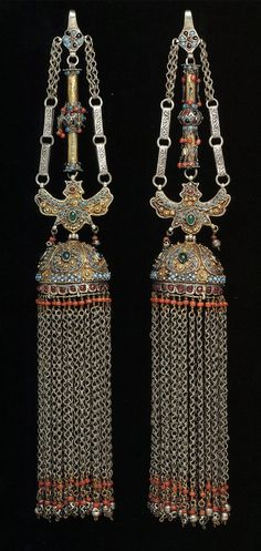 Uzbekistan - Pair of temple pendants; partly fire-gilded silver, turquoise, coral and other materials. Black Gold Jewelry, Tribal Jewelry, Bohemian Jewelry, Turquoise Jewelry, Indian Jewelry, Beaded Jewelry, Handmade Jewelry, Gold Jewellery, Ancient Jewelry