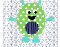 Chambre décor bleu marine enfants Turquoise vert Kids Toddler Baby Shower Gift du monstre mignon pépinière Art garçon 8 x 10 ou 11 x 14