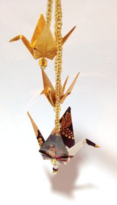 Origami Hair Chopstick Brown & Gold Origami by FlyingCraneOrigami