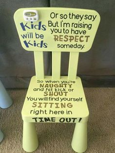 Adorable Kids Time Out chair for your little one when the kids are naughty! Perf… Adorable Kids Time Out chair for your little one when the kids are naughty! Perfect for the terrible twos. and threes… and beyond! Baby Kind, Baby Love, Kids And Parenting, Parenting Hacks, Parenting Styles, Parenting Plan, Parenting Classes, Funny Parenting, Foster Parenting