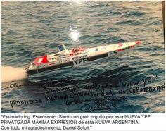 Scioli Neoliberal Foto y transcripción literal de la dedicatoria firmada por Scioli