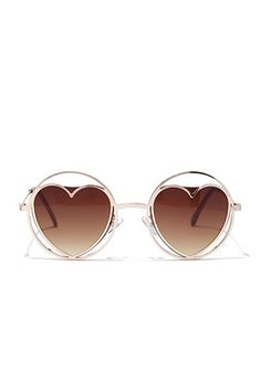 Round Cutout Heart Sunglasses | Forever 21 - 1000132550