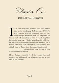 book shower invite chapter one