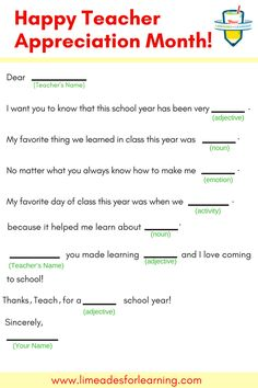 Fill out our Teacher Appreciation Mad Lib and gift to your favorite teacher as a fun way to say #ThanksTeach during May, Teacher Appreciation Month!