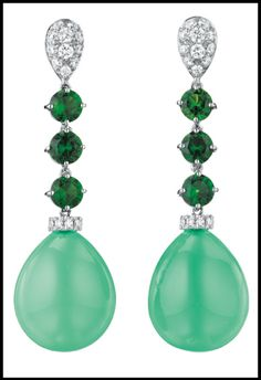 Margherita Burgener chrysoprase and diamond ring and earrings. : Diamonds in the Library
