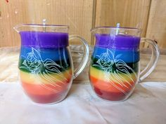 Rainbow in a Jar Wax Play Candle - Low Temp - Kink candles - Unscented Bondage Candle - Pitcher Candle Rainbow In A Jar, Aromatherapy Candles, Large Crystals, Candle Wax, Burning Candle, Wax Melts, Candle Making, Fragrance Oil, Bubbles