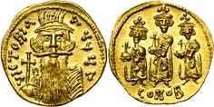 Byzantine Empire AV Solidus ND Constantinople Mint struck circa 668AD Constans III/ Constantine IV/ Tiberius/ Heraclius