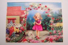 This listing is for a vintage lenticular postcard - Made in Japan - of a doll with her poodle. The colors are very bright and crisp. The postcard