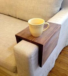 Reclaimed Wood Couch Arm Table. Love this! I'm always knocking cups of tea.