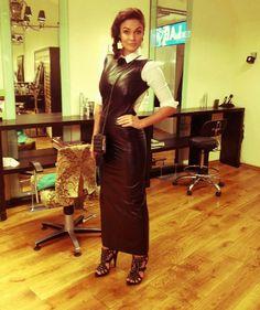 Black leather maxi dress